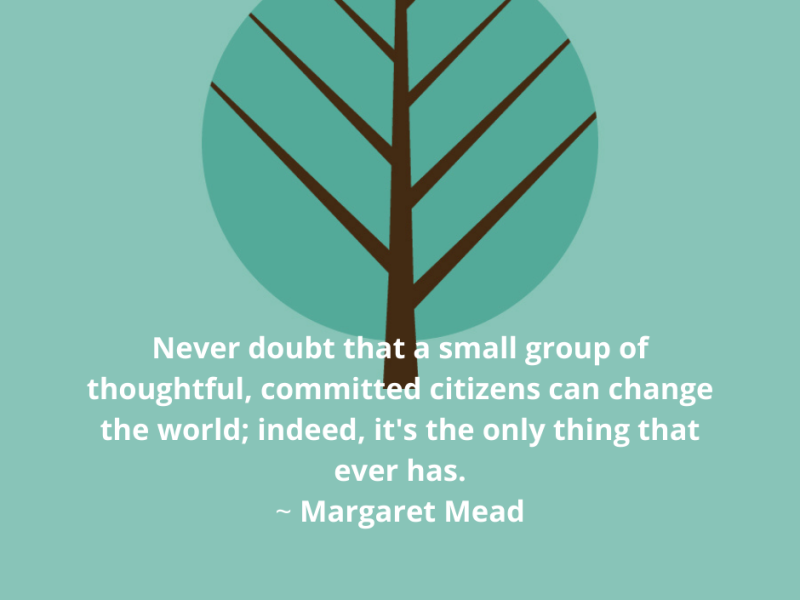 Quote from Margaret Mead. Never doubt that a small group of thoughtful, committed citizens can change the world; indeed, it's the only thing that ever has.
